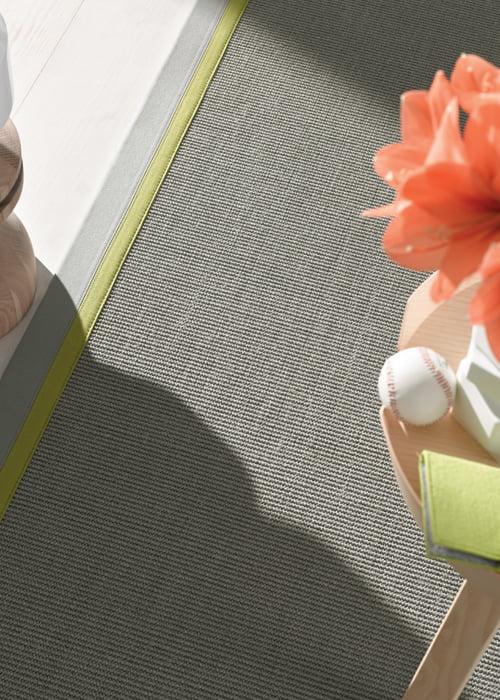 karpet vloerkleed natuurlijke materialen rand afwerking door kleur op kleur interieur