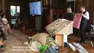 Tricia Guild van Designers Guild nieuwe collectie woonstoffen 2016-2017 presentatie op de Britse Ambassade Den Haag door Kleur op Kleur Interieur