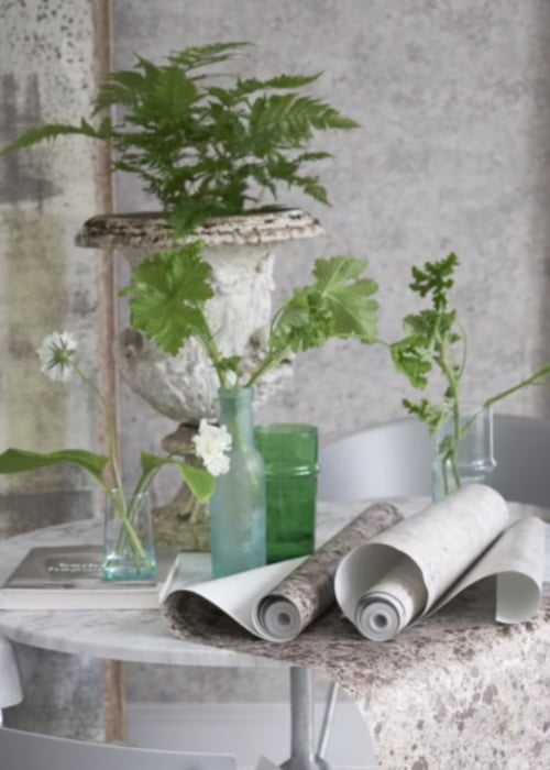 designers guild collectie interieurs behang vintage geometrisch green